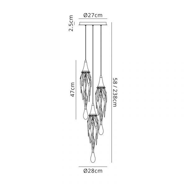Lichfield Lighting Indigo Pendant Round, 3 x GU10, Polished Chrome Dimensions