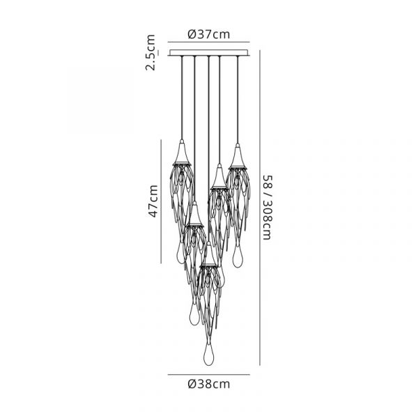 Lichfield Lighting Indigo Pendant Round, 5 x GU10, Polished Chrome Dimensions