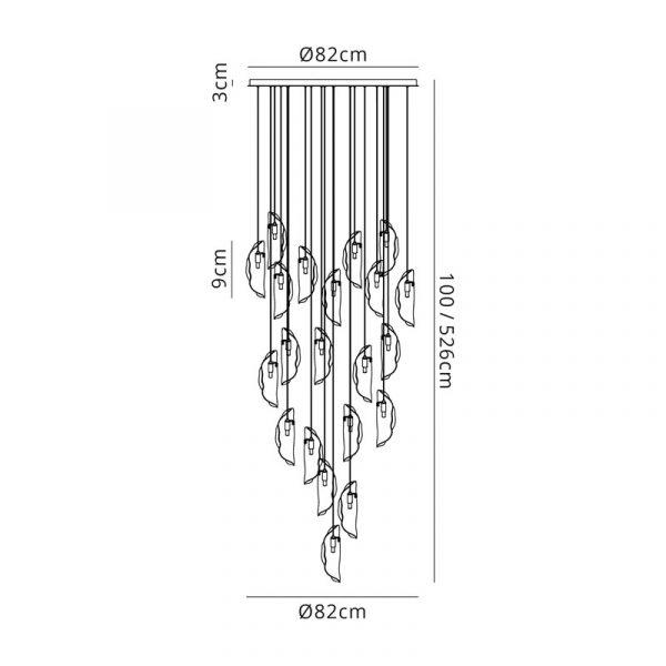 Lichfield Lighting Tewe Pendant 5M, 21 x G9, Brass Metal Shade & Cognac Glass Dimensions