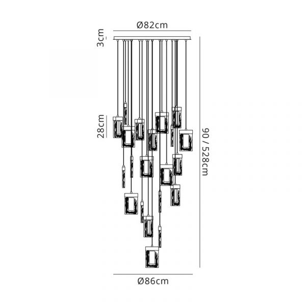 Lichfield Lighting Ellsmore Pendant 5M, 21 x 4.5W LED, 3000K, 3360lm, Polished Chrome, 3yrs Warranty Dimensions