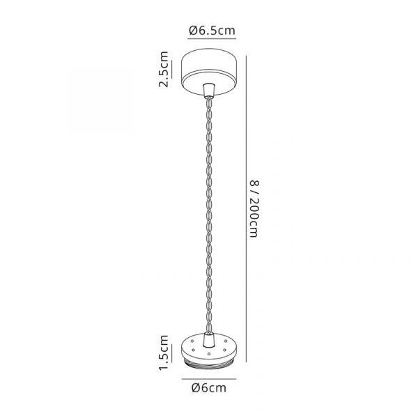 Lichfield Lighting Sandfield Pendant Light Kit 2M, 1 x GU10, Sand Black Dimensions