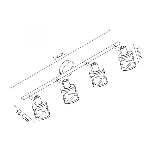 Lichfield Lighting Nelson 4 Linear Bar Light Spotlight E14, Matt Grey/Polished Chrome/Cognac Dimensions