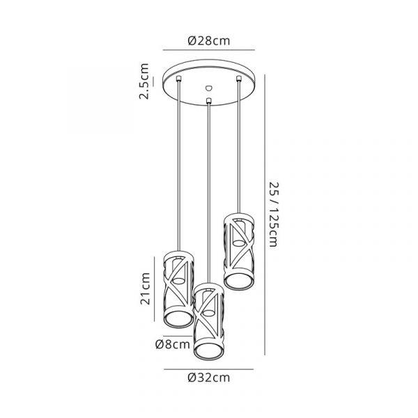 Lichfield Lighting Nelson 3 Light Round Pendant E14, Matt Grey/Polished Chrome/Cognac Dimensions