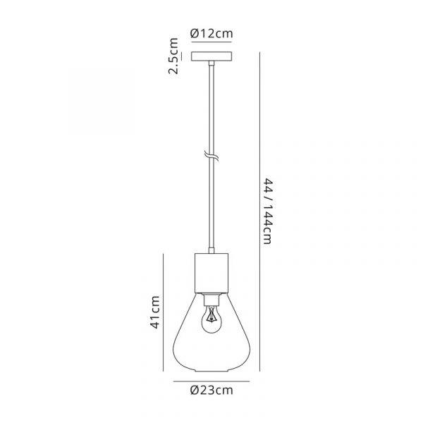 Lichfield Lighting Oakhurst Narrow Pendant, 1 x E27, Ancient Brass/Clear Glass Dimensions