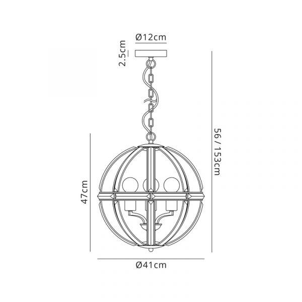 Lichfield Lighting Chadswell Medium Round Pendant, 3 Light E27, Polished Nickel Dimensions