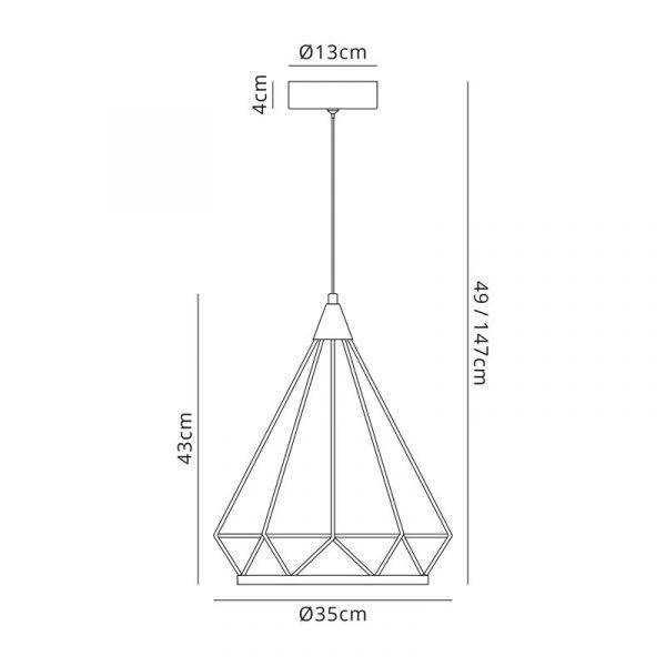 Lichfield Lighting Elawfords Large Diamond Pendant, 1 x 10W LED, 3700K, Matt Grey, 3yrs Warranty Dimensions