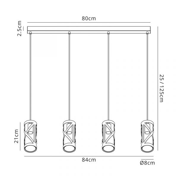 Lichfield Lighting Nelson 4 Light Bar Linear Pendant E14, Oiled Bronze/Polished Chrome/Amber Dimensions