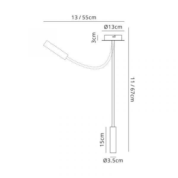Lichfield Lighting Partridge Ceiling, 1 Light Adjustable Arm, 1 x 5W LED, 3000K, 310lm, Black/Satin Copper, 3yrs Warranty Dimensions