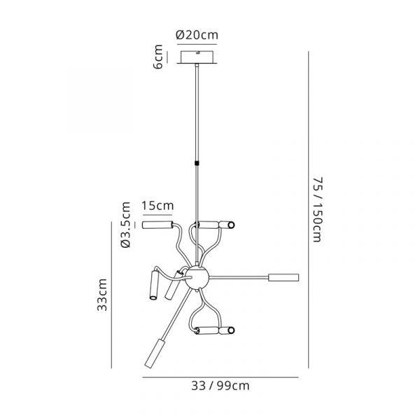 Lichfield Lighting Partridge Sputnik Pendant, 9 Light Adjustable Arms, 9 x 4W LED Dimmable, 3000K, 2250lm, Black/Satin Copper, 3yrs Warranty Dimensions