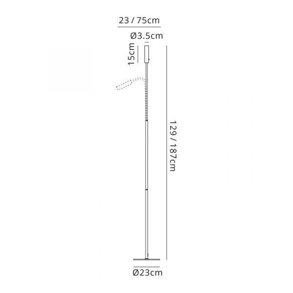 Lichfield Lighting Partridge Floor Lamp, 1 Light Adjustable Switched, 1 x 7W LED, 3000K, 436lm, Black/Satin Copper, 3yrs Warranty Dimensions