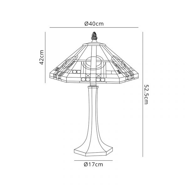 Lichfield Lighting April 2 Light Octagonal Table Lamp E27 With 40cm Tiffany Shade, White/Grey/Black/Clear Crystal/Aged Antique Brass Dimensions