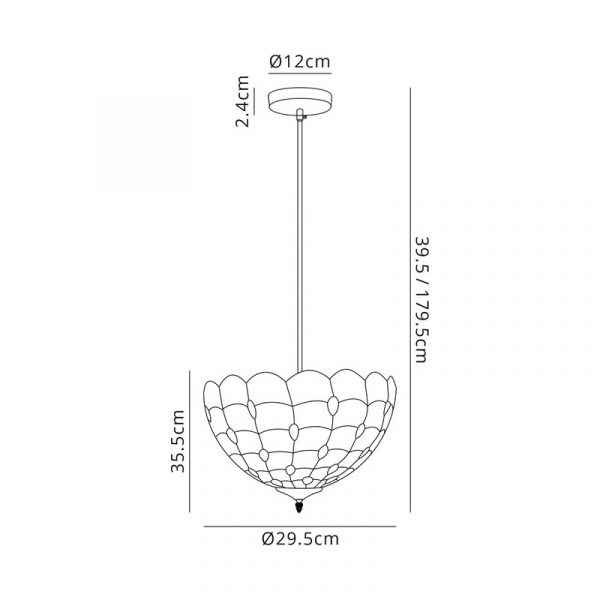 Lichfield Lighting Chatterton 1 Light Uplighter Pendant E27 With 30cm Tiffany Shade, Beige/Clear Crystal/Black Dimensions