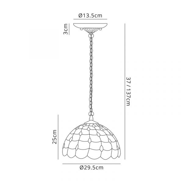 Lichfield Lighting Chatterton 2 Light Downlighter Pendant E27 With 30cm Tiffany Shade, Beige/Clear Crystal/Aged Antique Brass Dimensions