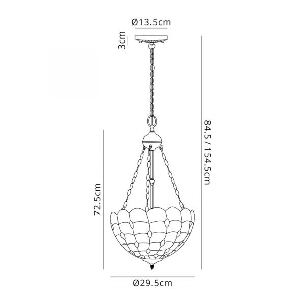 Lichfield Lighting Chatterton 2 Light Uplighter Pendant E27 With 30cm Tiffany Shade, Beige/Clear Crystal/Aged Antique Brass Dimensions