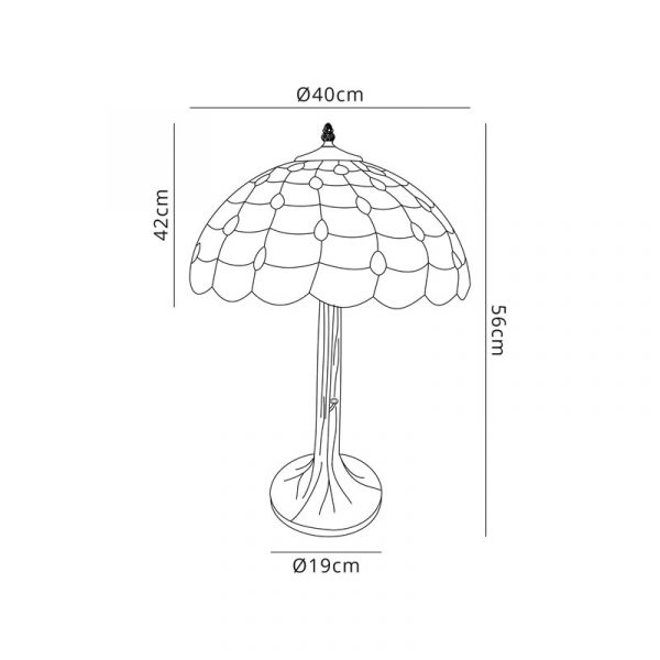 Lichfield Lighting Chatterton 2 Light Tree Like Table Lamp E27 With 40cm Tiffany Shade, Beige/Clear Crystal/Aged Antique Brass Dimenions