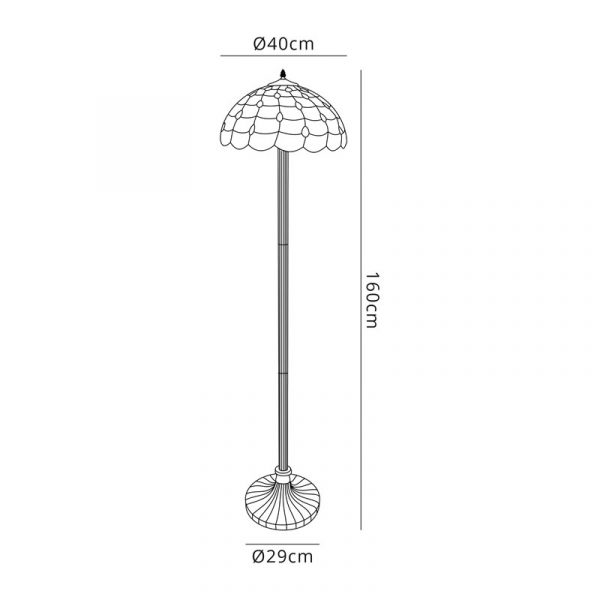 Lichfield Lighting Chatterton 2 Light Stepped Design Floor Lamp E27 With 40cm Tiffany Shade, Beige/Clear Crystal/Aged Antique Brass dimensions