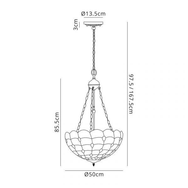 Lichfield Lighting Chatterton 3 Light Uplighter Pendant E27 With 50cm Tiffany Shade, Beige/Clear Crystal/Aged Antique Brass dimensions