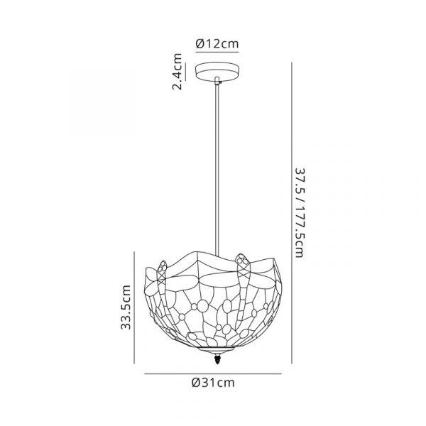 Lichfield Lighting Havefield 1 Light Uplighter Pendant E27 With 30cm Tiffany Shade, Blue/Orange/Crystal/Black dimensions