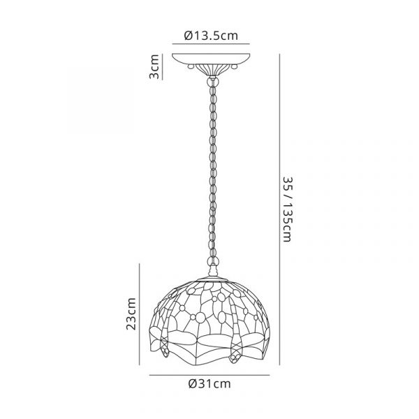 Lichfield Lighting Havefield 3 Light Downlighter Pendant E27 With 30cm Tiffany Shade, Blue/Orange/Crystal/Aged Antique Brass dimensions