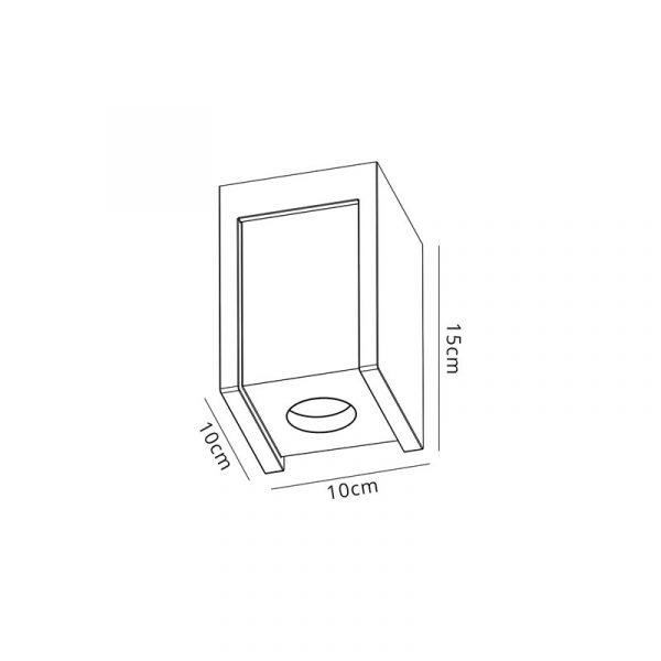 Lichfield Lighting Irving 1 Light Square Ceiling GU10, White Paintable Gypsum With Matt White Cover dimensions