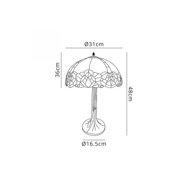 Lichfield Lighting Oricle 1 Light Tree Like Table Lamp E27 With 30cm Tiffany Shade, Blue/Clear Crystal/Aged Antique Brass dimensions