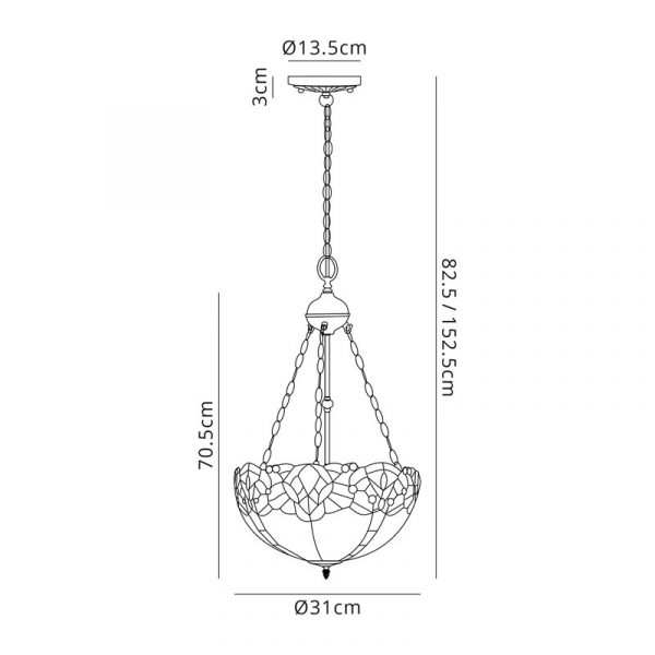 Lichfield Lighting Oricle 2 Light Uplighter Pendant E27 With 30cm Tiffany Shade, Blue/Clear Crystal/Aged Antique Brass dimensions