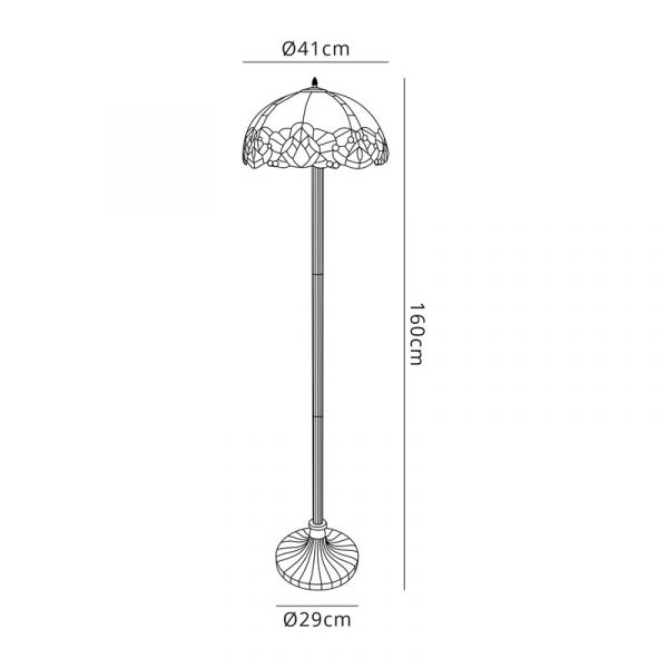 Lichfield Lighting Oricle 2 Light Leaf Design Floor Lamp E27 With 40cm Tiffany Shade, Blue/Clear Crystal/Aged Antique Brass dimensions