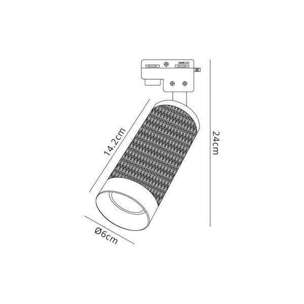 Lichfield Lighting Sandfield 1 Light Track Spotlight GU10, Sand Black/Acrylic Ring dimensions