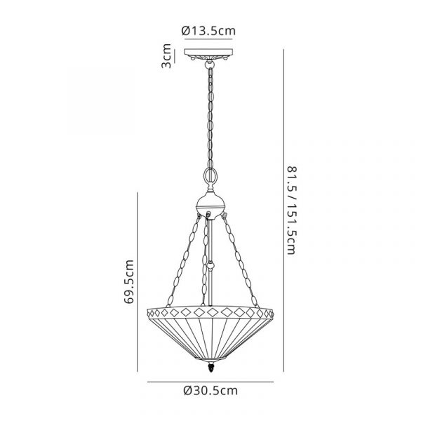 Lichfield Lighting Thistley 2 Light Uplighter Pendant E27 With 30cm Tiffany Shade, Amber/Credlock/Crystal/Aged Antique Brass dimensions