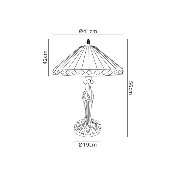 Lichfield Lighting Thistley 2 Light Curved Table Lamp E27 With 40cm Tiffany Shade, Amber/Credlock/Crystal/Aged Antique Brass dimensions