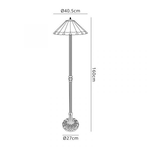 Lichfield Lighting St John 2 Light Leaf Design Floor Lamp E27 With 40cm Tiffany Shade, Green/Credlock/Crystal/Aged Antique Brass dimensions