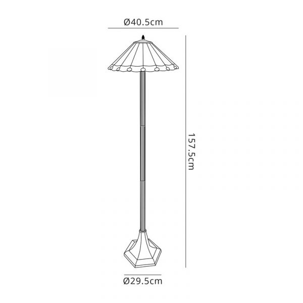 Lichfield Lighting St John 2 Light Octagonal Floor Lamp E27 With 40cm Tiffany Shade, Red/Credlock/Crystal/Aged Antique Brass dimensions