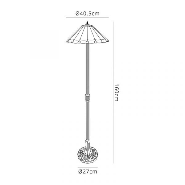 Lichfield Lighting St John 2 Light Leaf Design Floor Lamp E27 With 40cm Tiffany Shade, Red/Credlock/Crystal/Aged Antique Brass dimensions