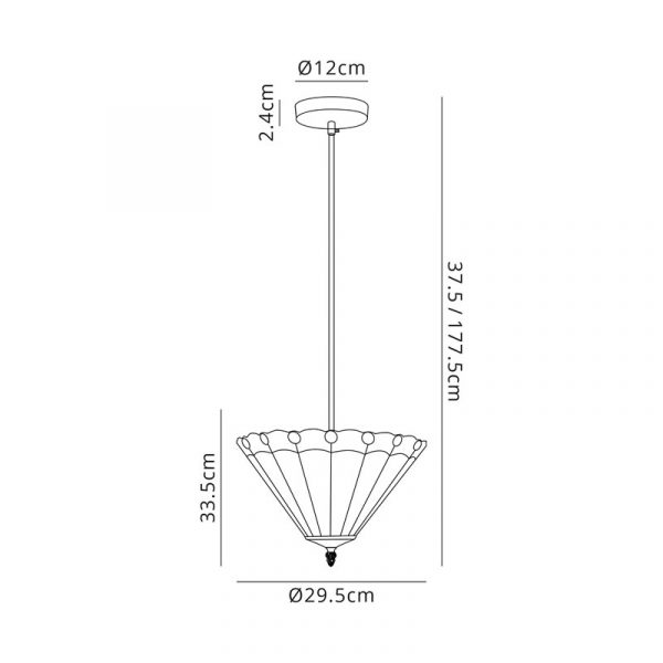 Lichfield Lighting St John 1 Light Uplighter Pendant E27 With 30cm Tiffany Shade, Blue/Credlock/Crystal/Black dimensions
