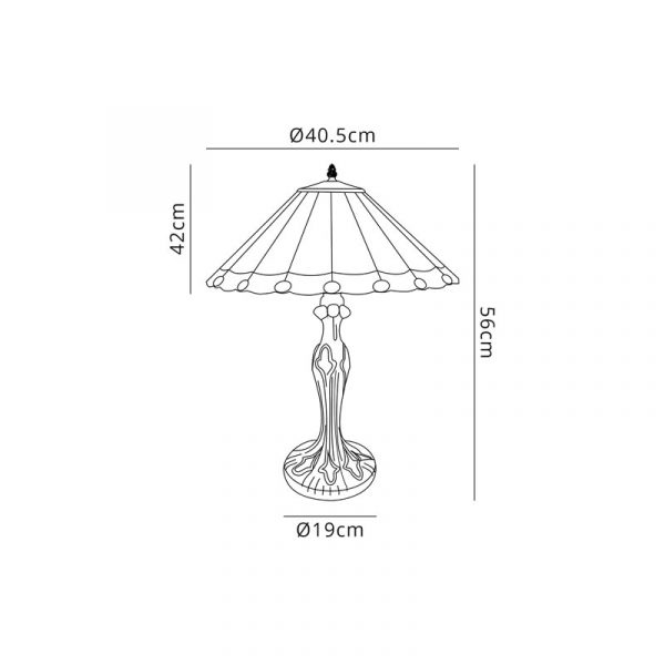 Lichfield Lighting St John 2 Light Curved Table Lamp E27 With 40cm Tiffany Shade, Grey/Credlock/Crystal/Aged Antique Brassdimensions