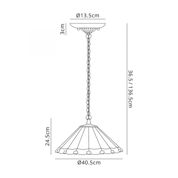 Lichfield Lighting St John 3 Light Downlighter Pendant E27 With 40cm Tiffany Shade, Grey/Credlock/Crystal/Aged Antique Brass dimensions