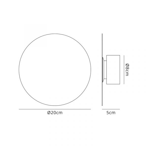 Lichfield Lighting Maxwell Magnetic Base Wall Lamp, 12W LED 3000K 498lm, 20cm Round, Sand White dimensions
