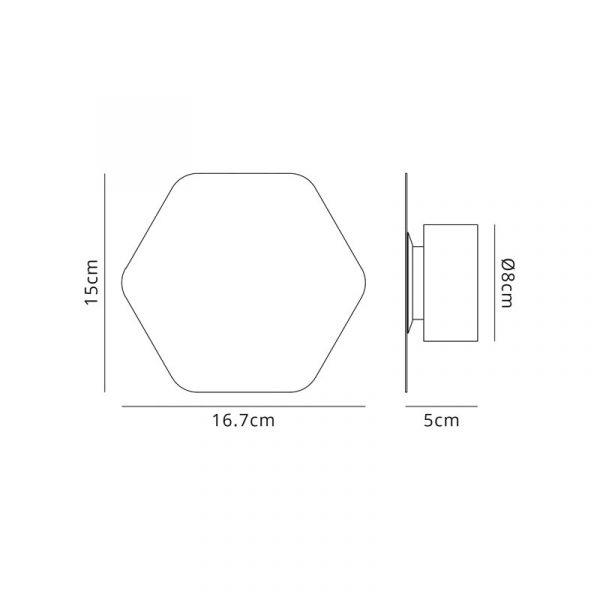 Lichfield Lighting Maxwell Magnetic Base Wall Lamp, 12W LED 3000K 498lm, 15cm Horizontal Hexagonal, Sand White dimensions