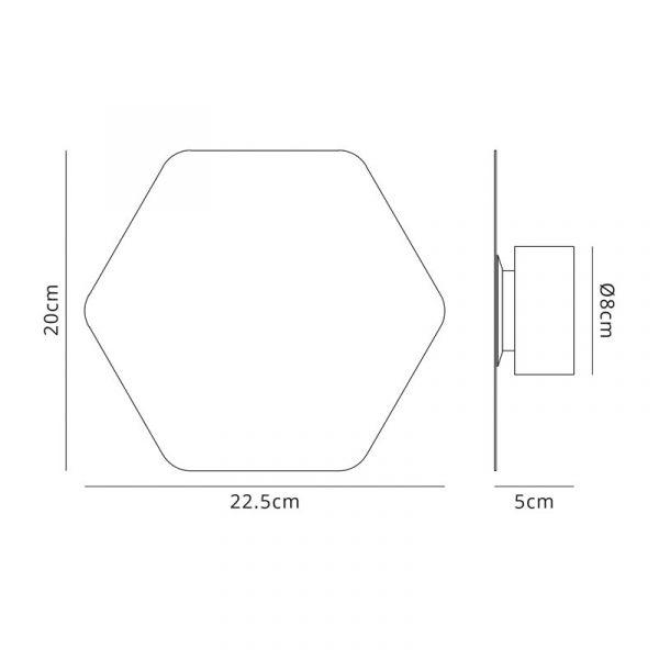 Lichfield Lighting Maxwell Magnetic Base Wall Lamp, 12W LED 3000K 498lm, 20cm Horizontal Hexagonal, Sand White dimensions