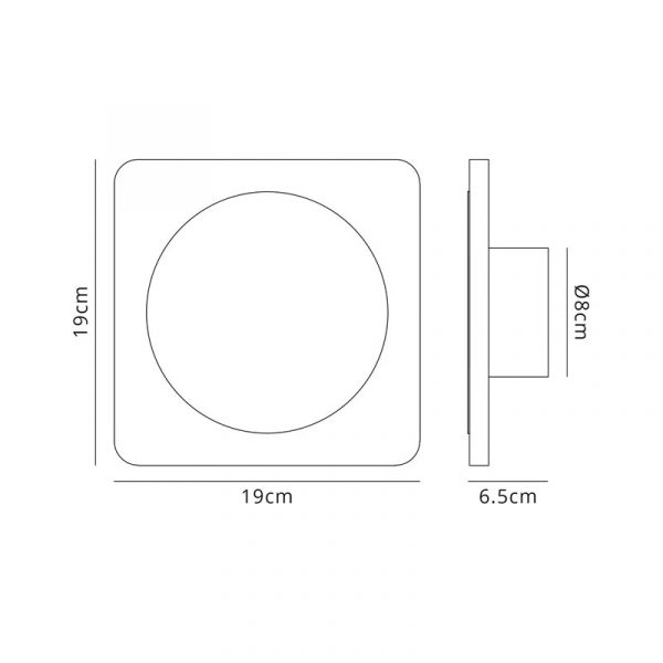 Lichfield Lighting Maxwell Magnetic Base Wall Lamp, 12W LED 3000K 498lm, 15cm Round 19cm Square Centre, Sand White/Acrylic Frosted Diffuser dimensions