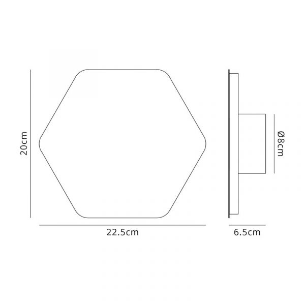 Lichfield Lighting Maxwell Magnetic Base Wall Lamp, 12W LED 3000K 498lm, 20/19cm Horizontal Hexagonal Centre, Sand White/Acrylic Frosted Diffuser dimensions