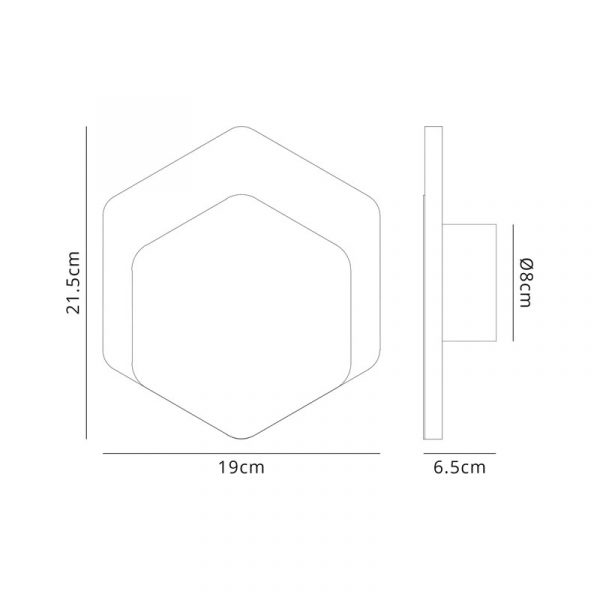 Lichfield Lighting Maxwell Magnetic Base Wall Lamp, 12W LED 3000K 498lm, 15/19cm Vertical Hexagonal Bottom Offset, Sand White/Acrylic Frosted Diffuser dimensions