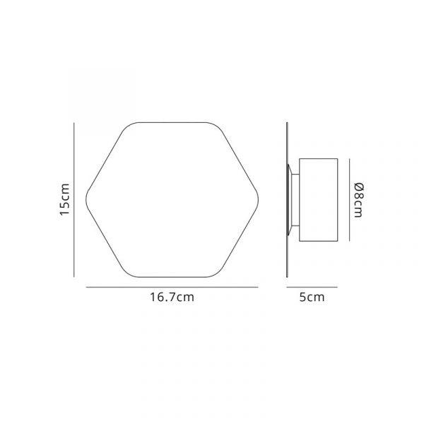 Lichfield Lighting Maxwell Magnetic Base Wall Lamp, 12W LED 3000K 498lm, 15cm Horizontal Hexagonal, Coffee dimensions