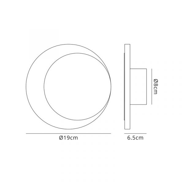 Lichfield Lighting Maxwell Magnetic Base Wall Lamp, 12W LED 3000K 498lm, 15/19cm Round Right Offset, Coffee/Acrylic Frosted Diffuser dimensions