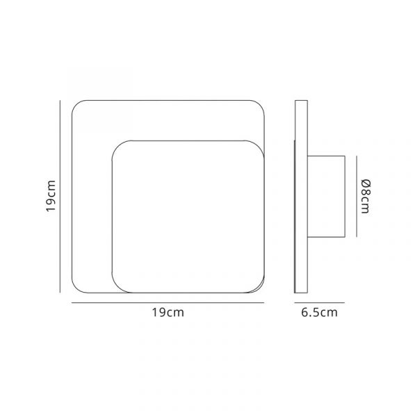 Lichfield Lighting Maxwell Magnetic Base Wall Lamp, 12W LED 3000K 498lm, 15/19cm Square Right Offset, Coffee/Acrylic Frosted Diffuser dimensions