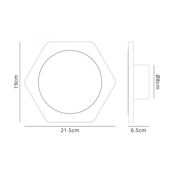 Lichfield Lighting Maxwell Magnetic Base Wall Lamp, 12W LED 3000K 498lm, 15cm Round 19cm Horizontal Hexagonal Centre, Coffee/Acrylic Frosted Diffuser dimensions
