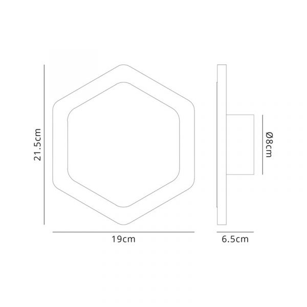 Lichfield Lighting Maxwell Magnetic Base Wall Lamp, 12W LED 3000K 498lm, 15/19cm Vertical Hexagonal Centre, Coffee/Acrylic Frosted Diffuser dimensions