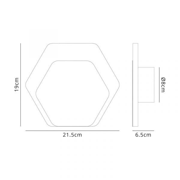 Lichfield Lighting Maxwell Magnetic Base Wall Lamp, 12W LED 3000K 498lm, 15/19cm Horizontal Hexagonal Bottom Offset, Coffee/Acrylic Frosted Diffuser dimensions