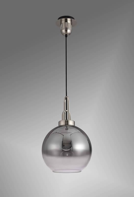 Lichfield Lighting Alder 1 Light Pendant E27 With 30cm Globe Glass, Polished Nickel/Matt Black/Smoked/Clear photo 3