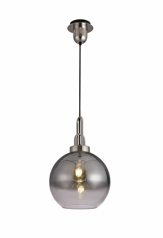 Lichfield Lighting Alder 1 Light Pendant E27 With 30cm Globe Glass, Polished Nickel/Matt Black/Smoked/Clear photo 1